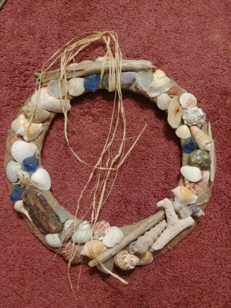 14quot; wreath w driftwood shells seaglass metal round wrapped w burlap made in VT