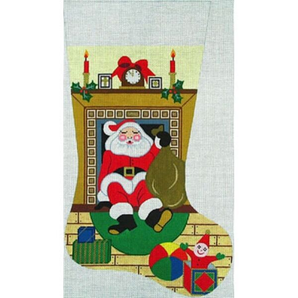 NEEDLEPOINT Handpainted Amanda Lawford Christmas Stocking SANTA in Fireplace 19quot;