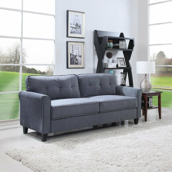 Classic Ultra Comfortable Brush Microfiber Fabric Living Room Sofa (Dark Grey)