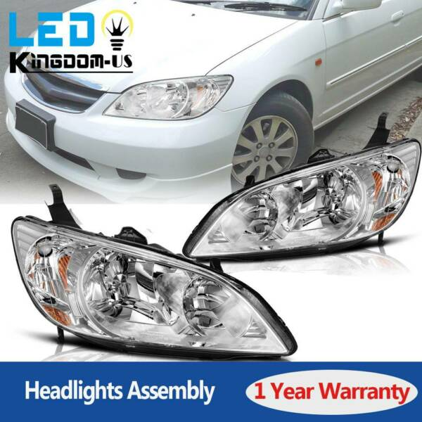 Chrome Headlights Pair For 2004 2005 Honda Civic 2 4 Door Headlamps Replacement