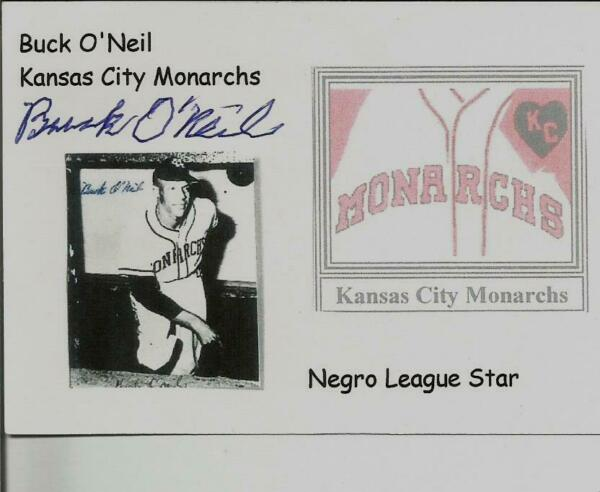 BUCK O'NEAL SIGNED INDEX CARD