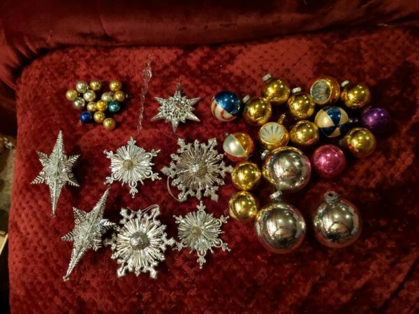 Vtg Lot Of Glass Ornaments And More