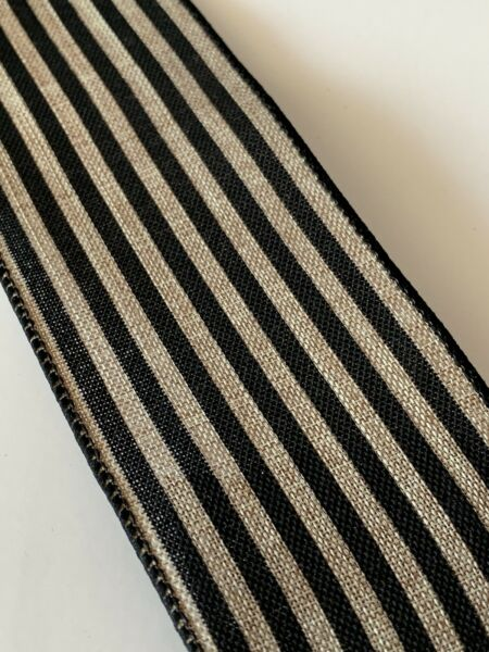 "5 Yds Of 2 1 2"" Wired Edge Black And Natural Cabana Stripe Faux Burlap Ribbon"