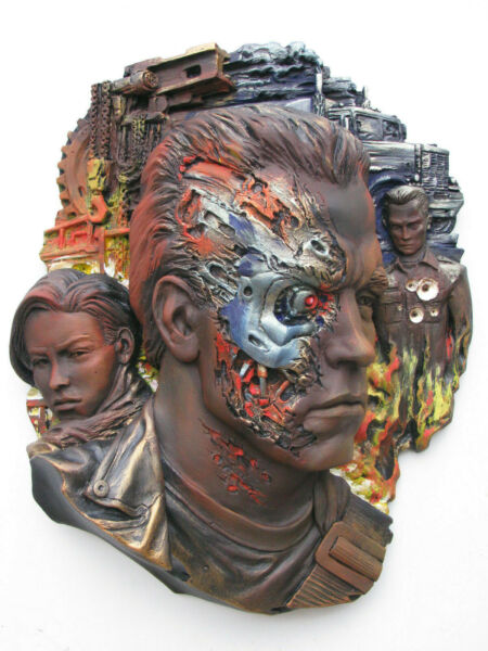 Terminator Mask Relief Author's Sculpture Collectible Figure Cover Natural Color