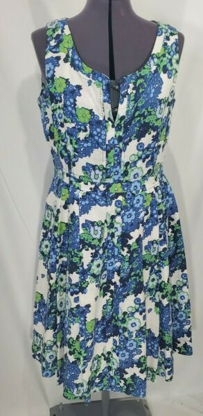 Tory Burch Amalia Dress Linen Fit amp; Flare Summer Sundress Sz 12 Floral $89.99