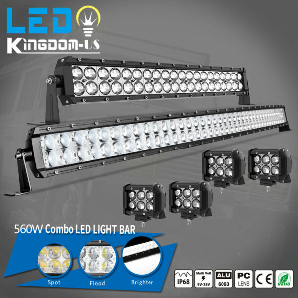 42Inch LED Light Bar Curved 22in Combo 4quot; Pods fits Ford Jeep SUV Truck Marine