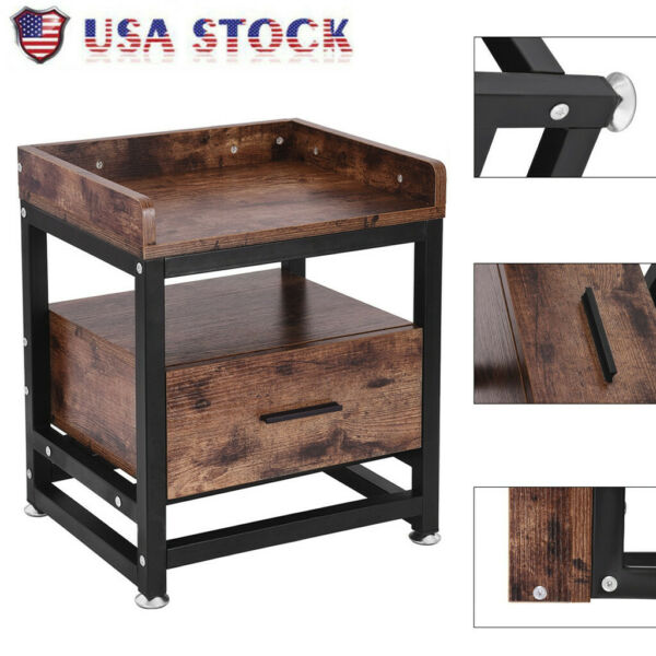Industrial Sofa Side End Table Accent Table Nightstand Shelf Storage Wood Drawer