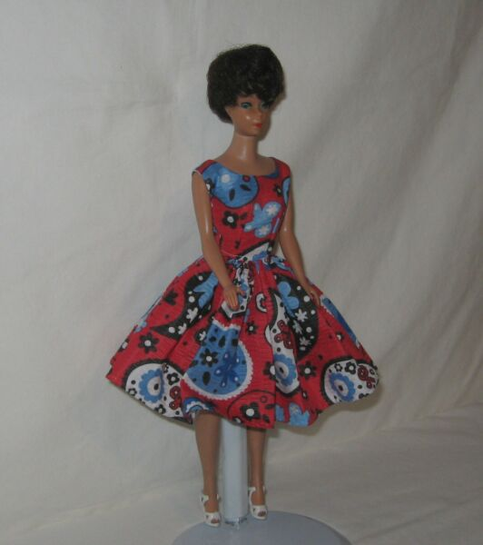 Handmade SHORT Cotton Red with Blues Black And White Print Dress FOR Dolls