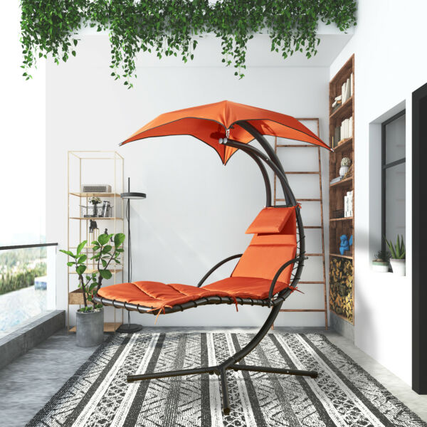Hanging Chair Patio Chaise Lounge Hammock Floating Swing Chair Outdoor Orange
