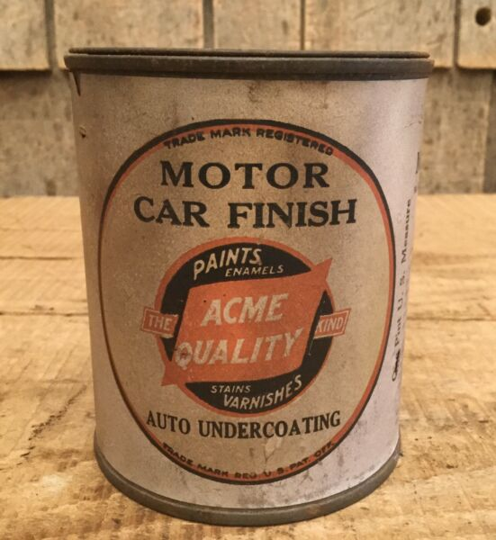 NOS Early Vintage 1Pt ACME Qaulity Motor Car Finish Varnish Tin Can Paper Label
