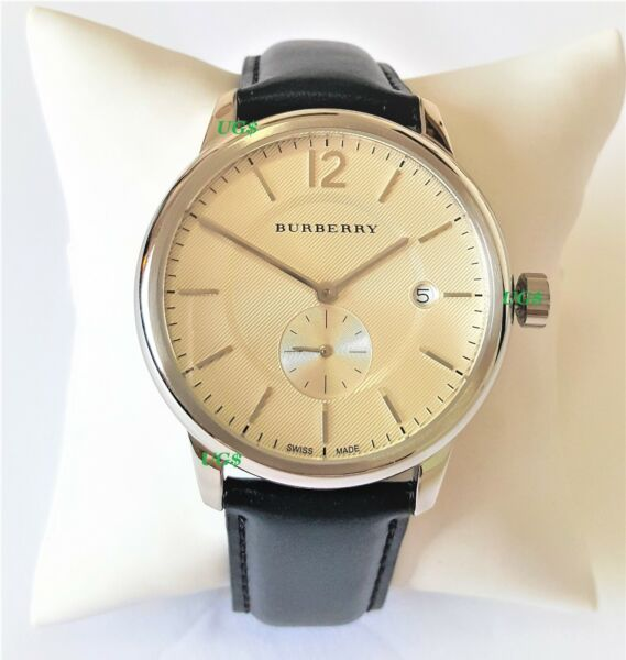 Burberry Watch Womens White Dial Black Leather Band Silver Case BU10000 Genuine $99.95