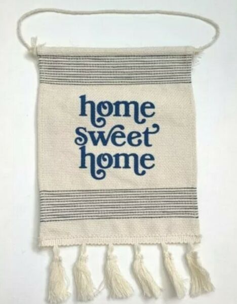 New hanging Signs Burlap Home Sweet Home w Tassels  9quot; X 7quot;