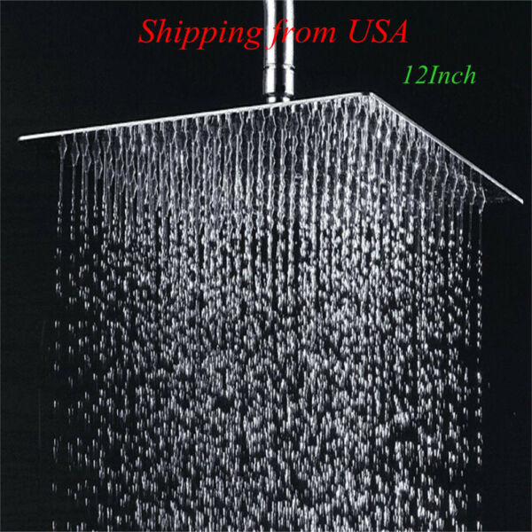 12 Inch Chrome Square Rain Shower Head Ultra Thin with 304 Stainless Steel