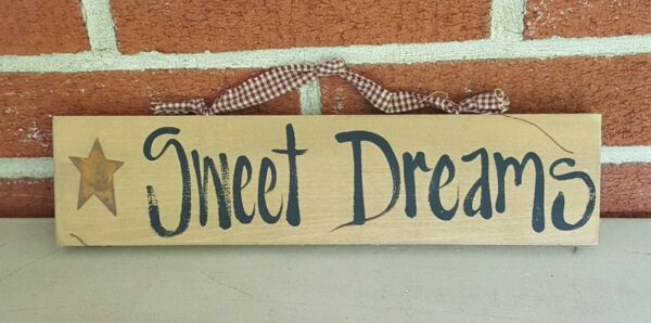 RUSTIC COUNTRY STAR quot;SWEET DREAMSquot; WOODEN WALL HANGING PLAQUE 12quot; X 3quot; SIGN $9.99