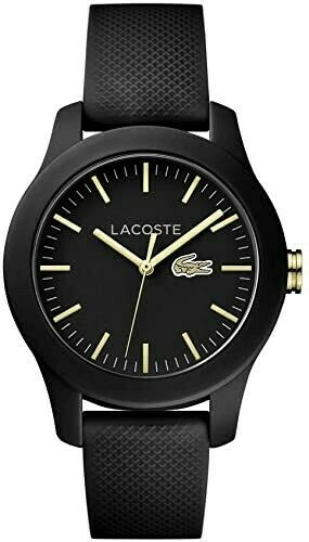 NEW Lacoste Ladies Black Stainless Quartz 38MM Watch 2000959 Silicone Strap $135