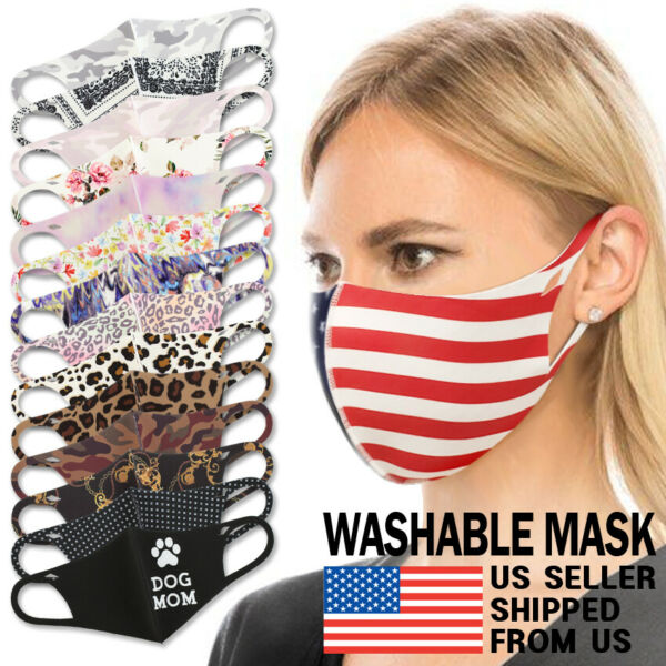 Washable Face Mask - Unisex Adult Breathable Reusable Spandex 3D Stretch Fabric $9.75