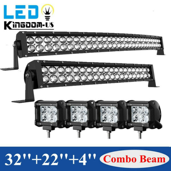 32inch LED Light Bar Curved 34#x27;#x27;22#x27;#x27; Combo 4#x27;#x27; Pods Offroad fit Dodge Ram 1500