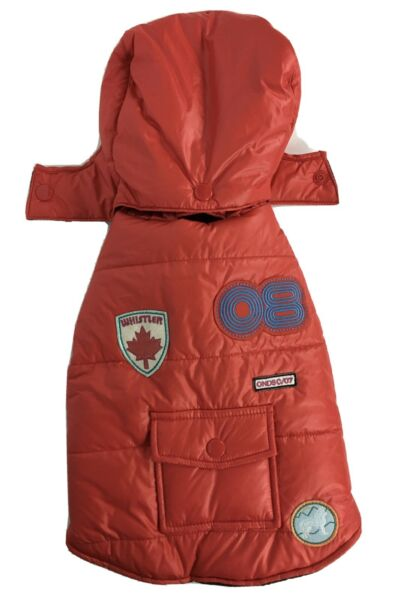 Old Navy Dog Supply Co Vest XS Red Puffer Quilted Removeable Hood Pocket Patches $14.99