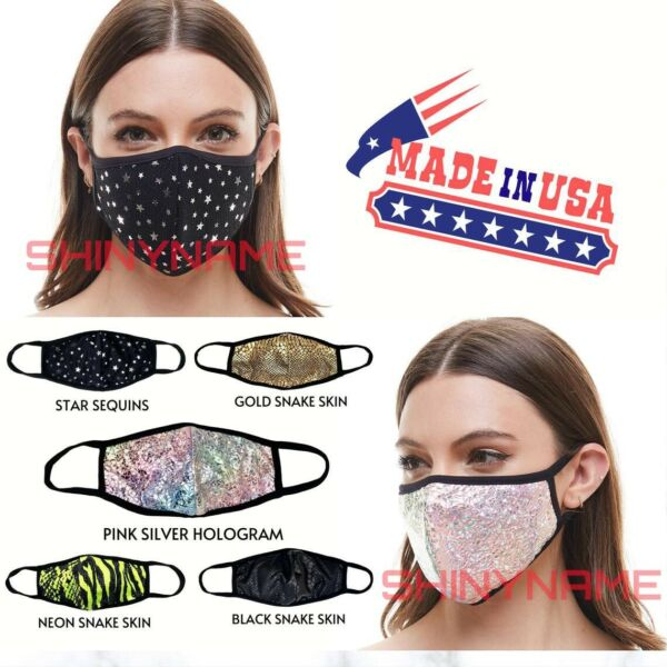 Fashion Face Mask(Black-Gold-Sequin-Pink-Neon) Adult & Kids Washable MADE in USA $8.99