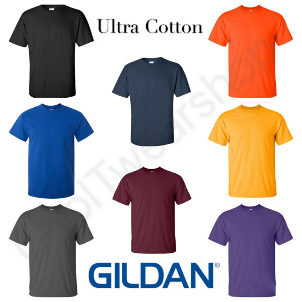 NEW Gildan Men#x27;s Ultra Cotton Plain Crew Neck Short Sleeves T Shirt 2000
