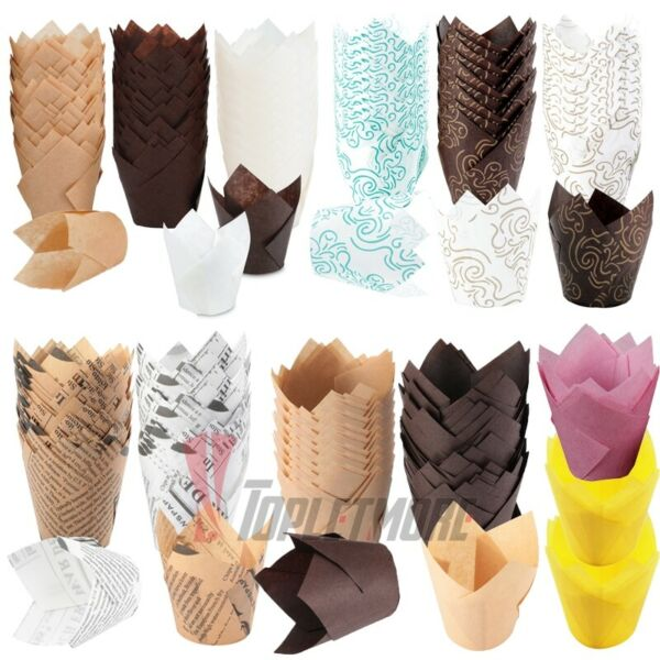 150pcs DIY Tulips Cupcake Baking Cup Muffin Liners Paper Cake Case Weeding Party