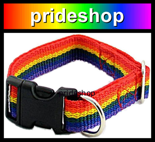 LARGE DOG Rainbow Strong Nylon Pet Collar Lesbian Gay Pride #153 AU $22.00