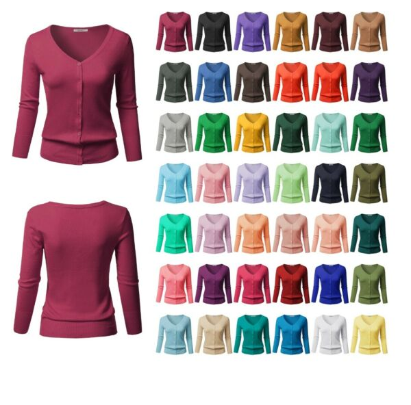 FashionOutfit Women SLIM FIT Solid Button Down V-Neck 34 Sleeves Knit Cardigan