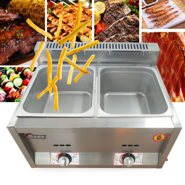 2X6L Table Pan Fryer Food Warmer Buffet Countertop Gas Steam Table Steamers