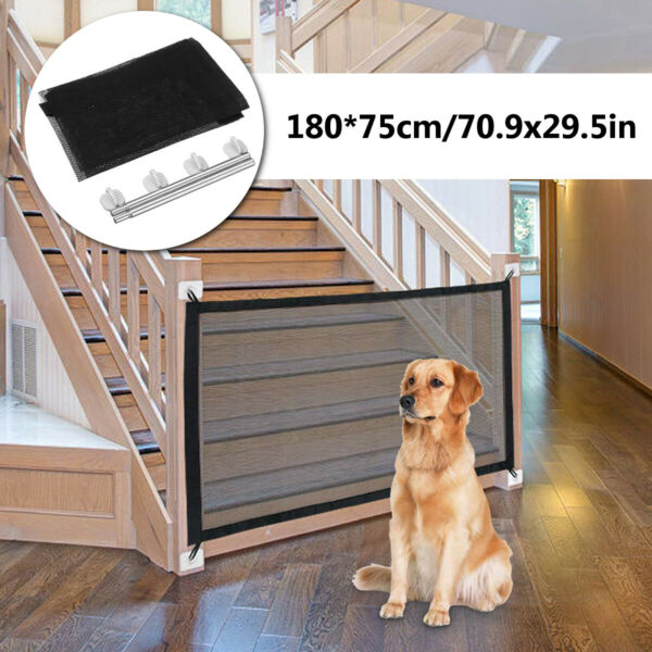 Large Pet Dog Baby Safety Gate Mesh Fence Portable Guard Indoor Home Kitchen net $11.29