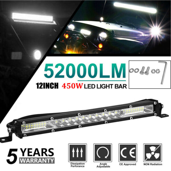 12quot; inch 450W LED Work Light Bar Combo Spot Flood Driving Off Road SUV Boat ATV
