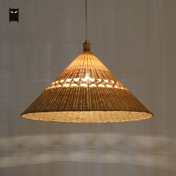 Delicate Bamboo Wicker Rattan Cap Pendant Light Fixture Japanese Ceiling Lamp
