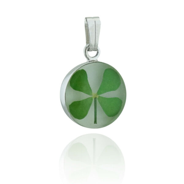 Real Mini Four Leaf Clover Pendant Stainless Steel Resin Round White Shamrock