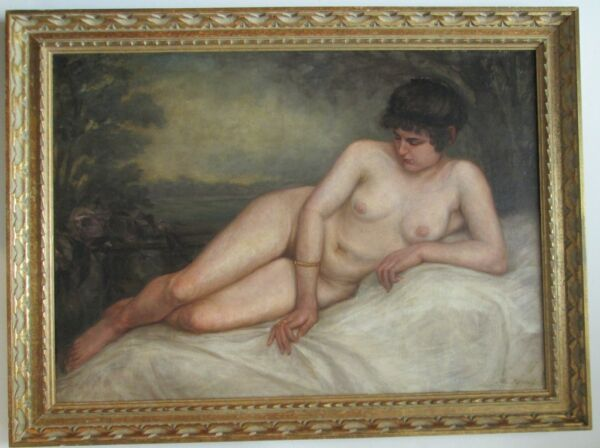 VINTAGE Oil Painting Listed Artist JACOB MATTHIJAS KIPPEL (1852 - 1925) NUDE