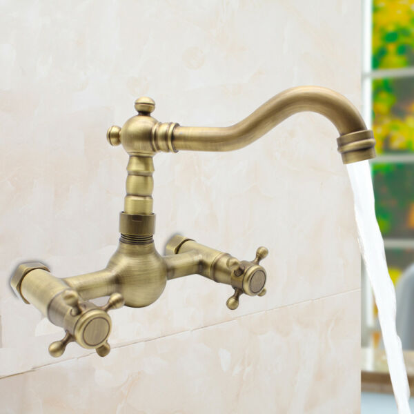 Wall Mount Antique Brass Kitchen Faucet HOT Bath Tub Sink Mixer Tap Dual Handle