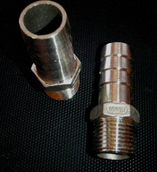 HB050075 STAINLESS STEEL HOSE BARB 1 2quot; NPT PIPE 3 4quot; HOSE