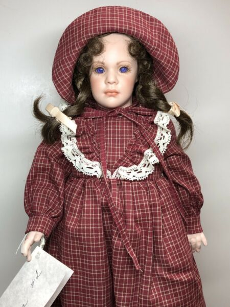 """14"""" Artist Doll All Porcelain Dolly amp; Me """"Laura Ingalls"""" By Deorseal #L"""