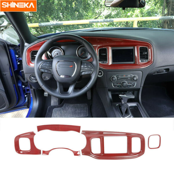 Console Dashboard Panel Cover Trim for Dodge Charger 2015 2020 Red Carbon Fiber $99.99