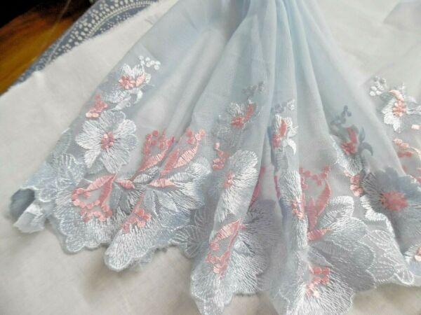 EMBROIDERED SOFT NETTING~FLORAL DESIGN~PINK AND BLUE~7