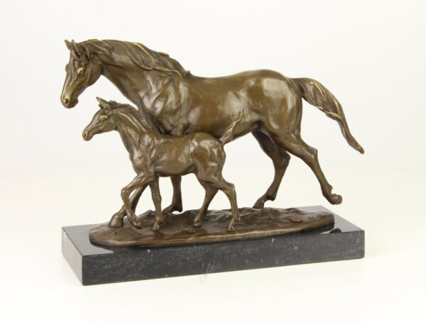 9937348-dss Bronze Sculpture Figure Horse Mare with Foal 9 38x13in