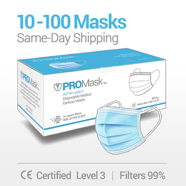 10 50 100 PROMask Disposable Face Masks Medical Surgical Dental 3 Ply Earloop $10.95