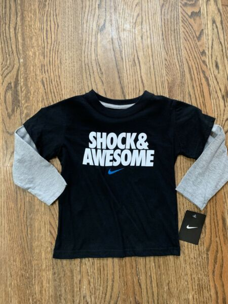 New NWT Nike L/S Nike Shirt Shock And Awesome Youth Boys Size 4 Black Gray