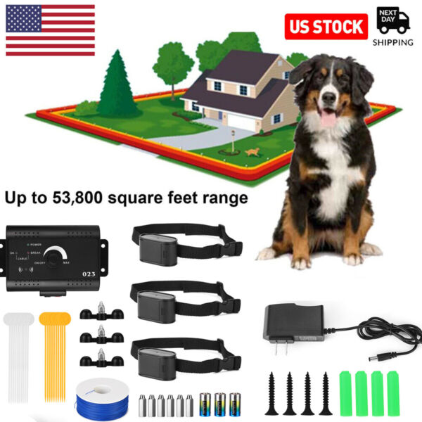 1 2 3 Electric Wireless Dog Fence No Wire Pet Containment System Rechargeable US $32.99