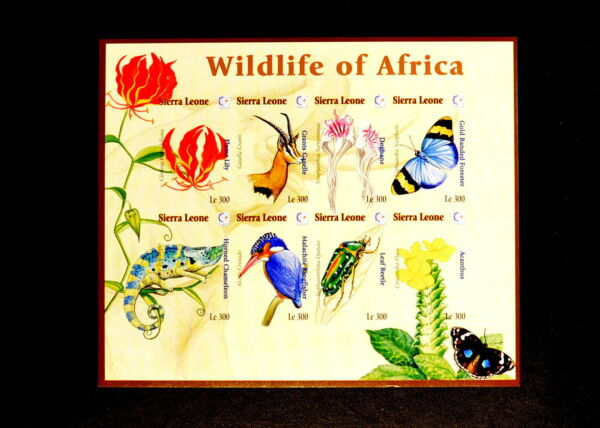 Sierra Leone  Scarce IMPERF MNH Sheet- Wildlife Butterflies Flowers Insects $20.99