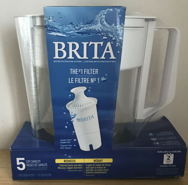 Brita 5 Cup Filter Pitcher White NEW