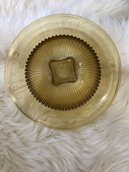 "Vintage Federal Amber Depression glass 10 x 10 x 6"" Serving Bowl Dish"