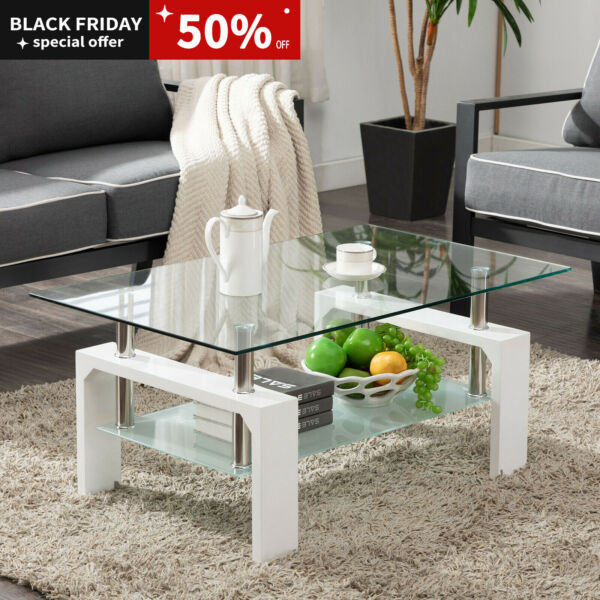 White Modern Side Coffee Table Glass Top Living Room Furniture Rectangle Shelf $119.99