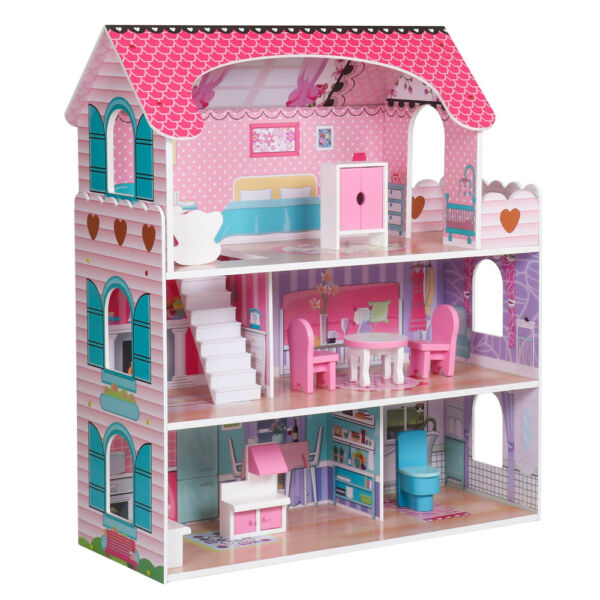 Baby Kid Wooden Dollhouse Toy Girl House Play Furniture Children#x27;s Doll House