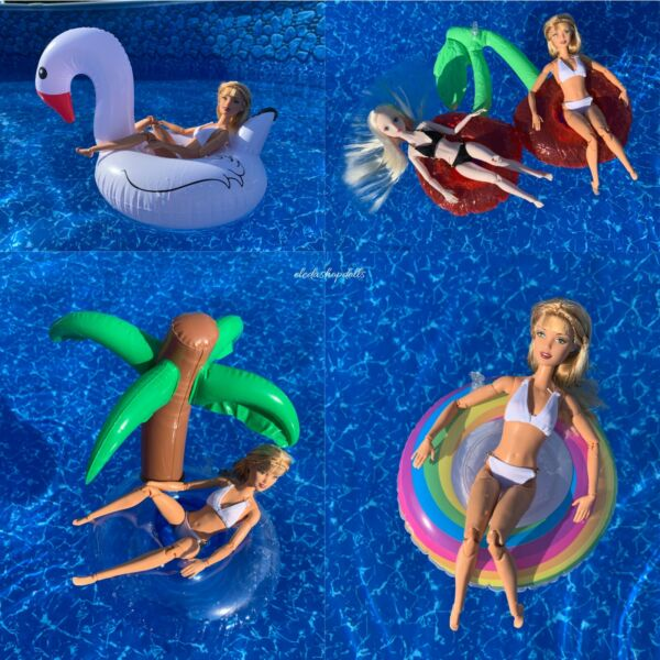 1:6 Mini Inflatable Swimming Ring Lot 4 Water Pool Floating FOR Barbie Doll