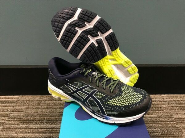 Men's Asics Gel-Kayano 26 Running Shoes Size 12 New In Box Peacoat/Safety Yellow