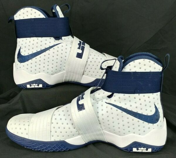 NEW Nike Lebron Soldier 10 White Navy Basketball Shoes 856489-141 Mens Size 17